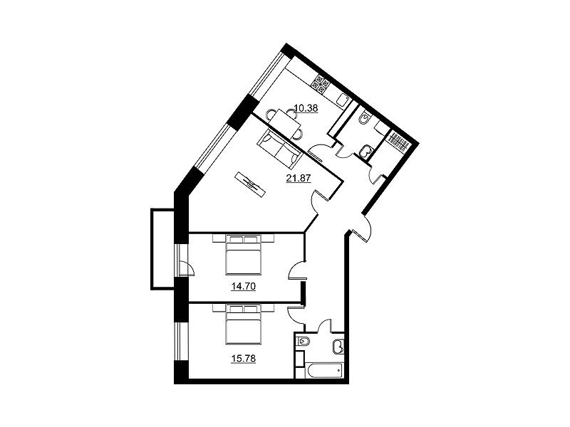 Планировка Трёхкомнатная квартира площадью 86.38 кв.м в ЖК «Династия»