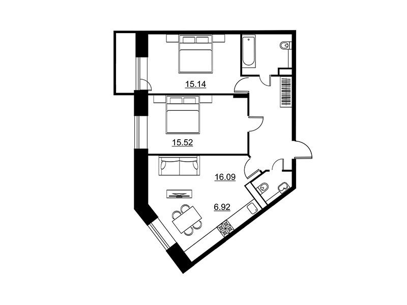 Планировка Двухкомнатная квартира площадью 72.59 кв.м в ЖК «Династия»
