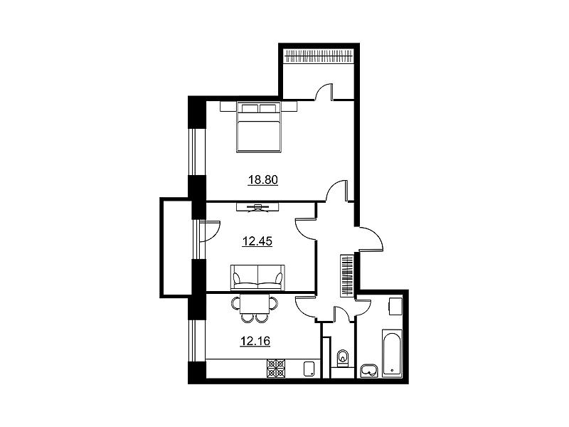 Планировка Двухкомнатная квартира площадью 61.17 кв.м в ЖК «Династия»