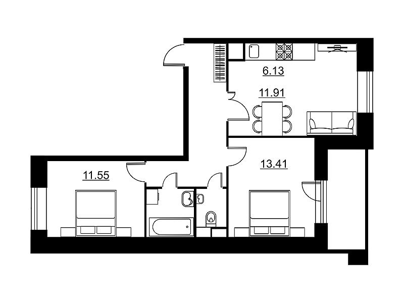 Планировка Двухкомнатная квартира площадью 61.53 кв.м в ЖК «Династия»