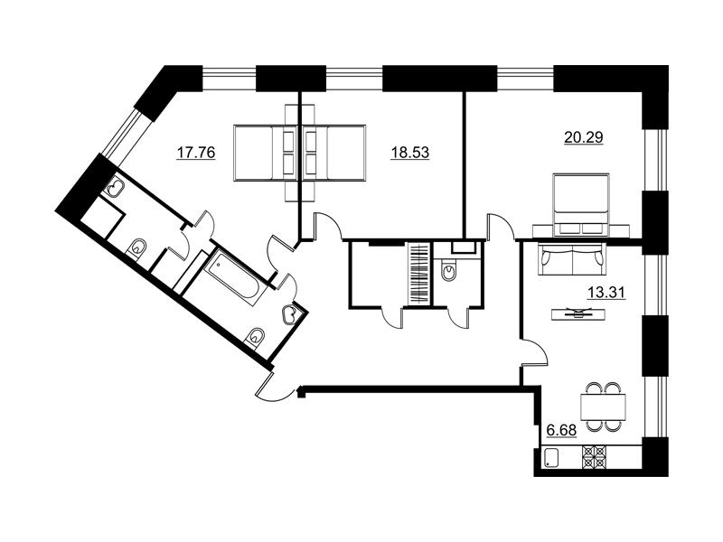 Планировка Трёхкомнатная квартира площадью 112.63 кв.м в ЖК «Династия»