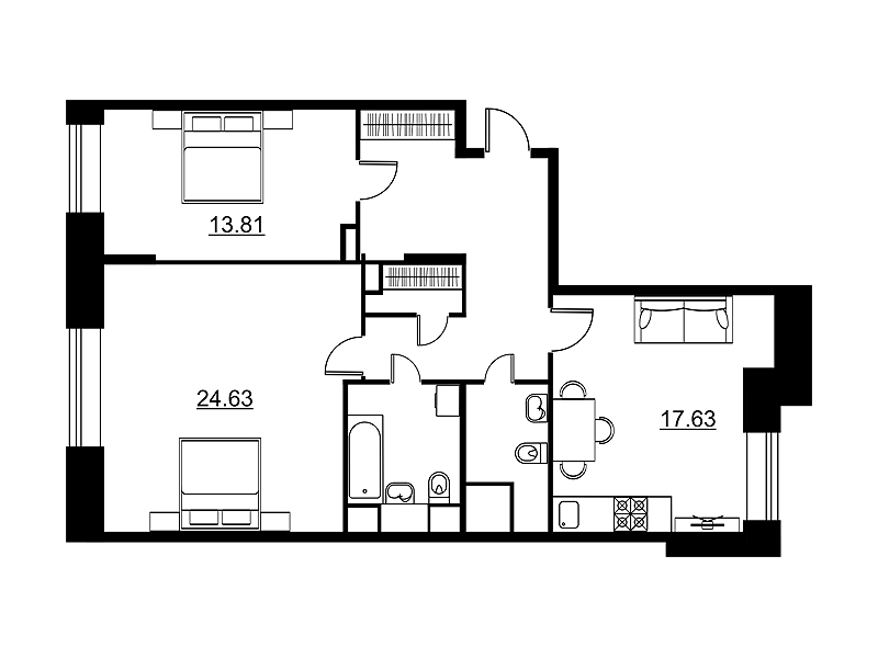 Планировка Двухкомнатная квартира площадью 82.35 кв.м в ЖК «Династия»